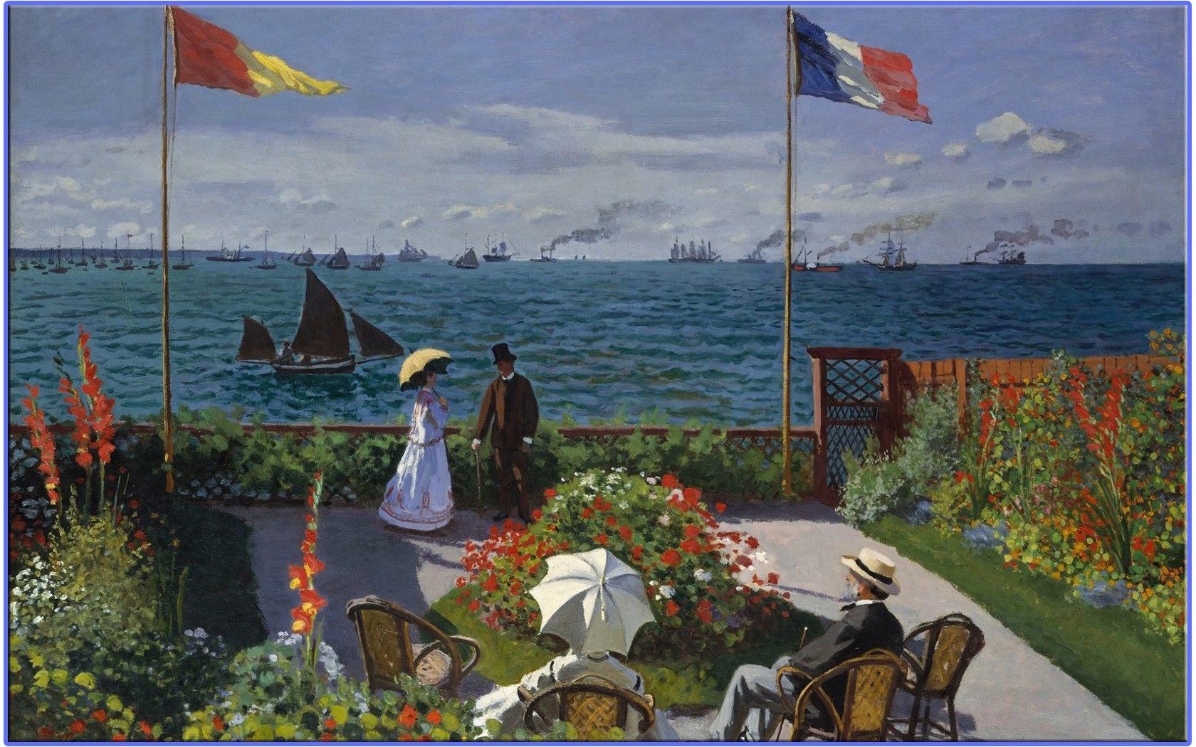 Обои Девушки в Саду, жанровая, картина, Клод Моне. Разное foto 16